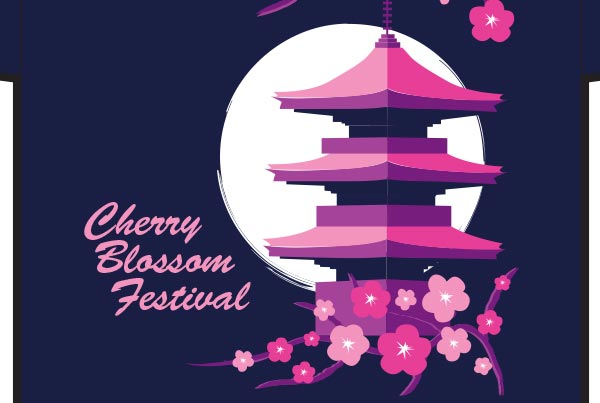 Cherry Blossom Festival Shirt & Pin